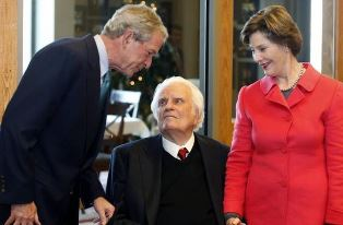 Billy Graham with George W. Bush and Laura smaller