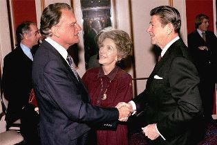 Billy Graham with Ronald Regan and wife smaller