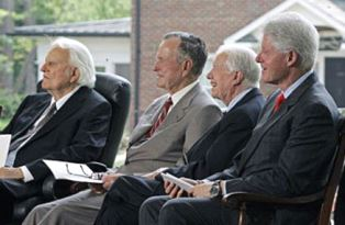 Billy Graham with three presidents
