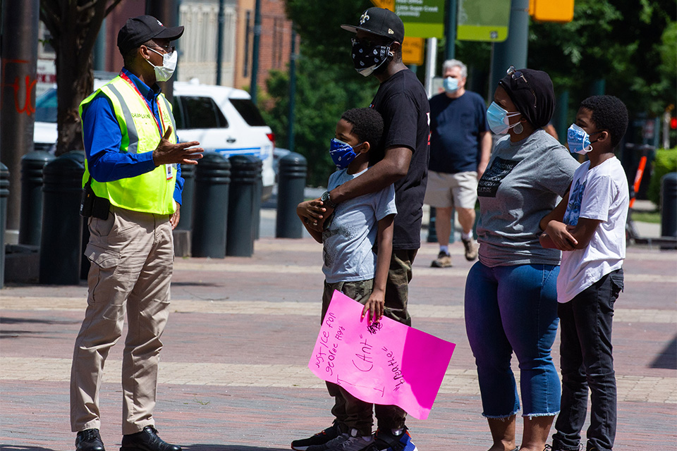 Billy Graham Rapid Response Team Chaplains Pray and the Love of Jesus Christ with Charlotte Protesters